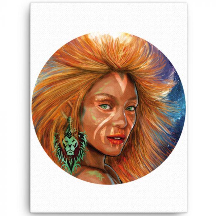 Reproducción de arte en lienzo 46x61 cm - El Poder de Leo - Diseño Digital - Zodiaco - Ilustración -pintado por Adrian Pagador