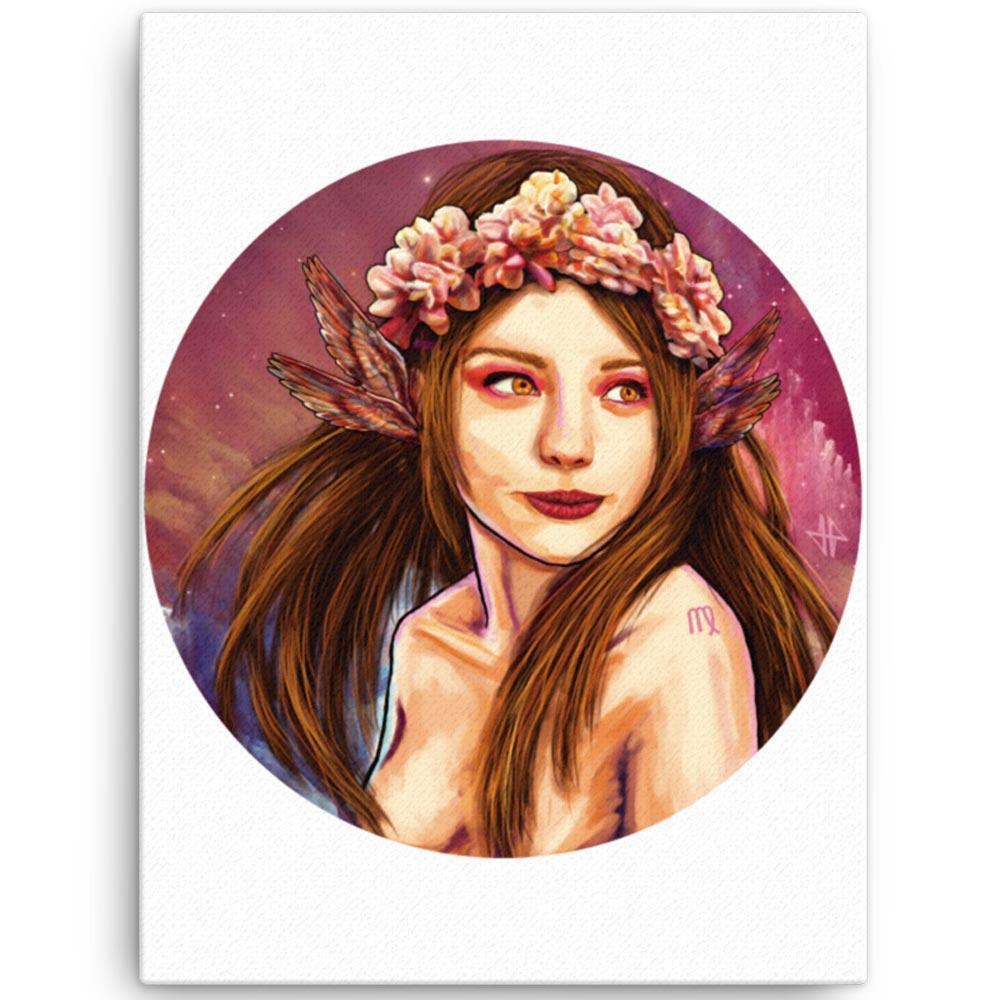 Reproducción de arte en lienzo 46x61 cm - La Pureza de Virgo - Diseño Digital - Zodiaco - Ilustración -pintado por Adrian Pagador