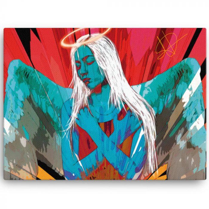 Reproducción de arte en lienzo 46x61 cm - Angel Awakening - Diseño Digital - Ilustración - Fotografía y Pintura -pintado por WachiMakeArt