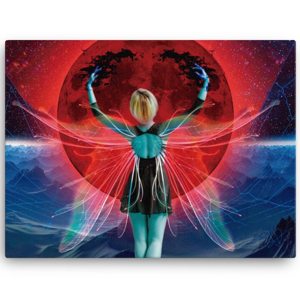 Reproducción de arte en lienzo 46x61 cm - Retro RedMoon - Diseño Digital - Ilustración - Fotografía y Pintura -pintado por WachiMakeArt