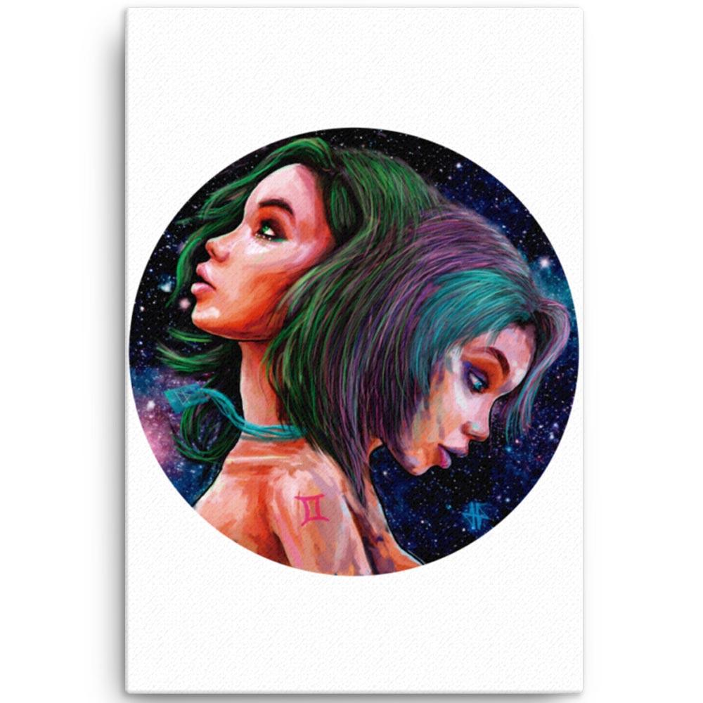 Reproducción de arte en lienzo 61x91 cm - Géminis - Diseño Digital - Zodiaco - Ilustración -pintado por Adrian Pagador