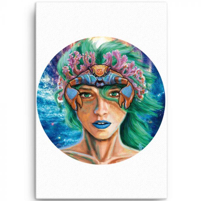 Reproducción de arte en lienzo 61x91 cm - La Fortaleza de Cancer - Diseño Digital - Zodiaco - Ilustración -pintado por Adrian Pagador