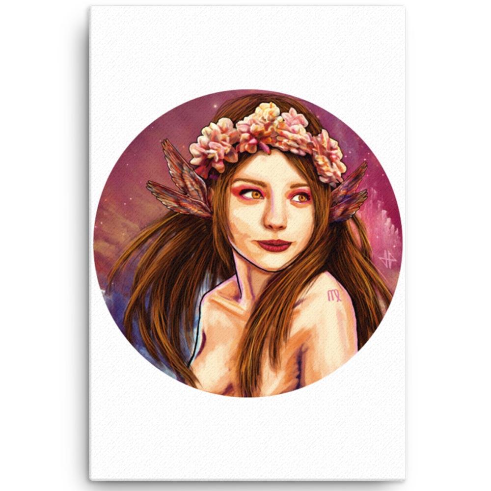 Reproducción de arte en lienzo 61x91 cm - La Pureza de Virgo - Diseño Digital - Zodiaco - Ilustración -pintado por Adrian Pagador