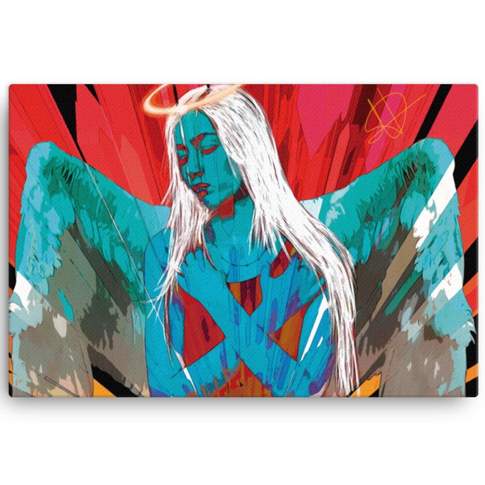 Reproducción de arte en lienzo 61x91 cm - Angel Awakening - Diseño Digital - Ilustración - Fotografía y Pintura -pintado por WachiMakeArt