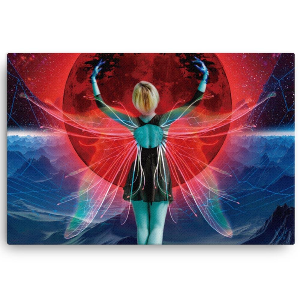 Reproducción de arte en lienzo 61x91 cm - Retro RedMoon - Diseño Digital - Ilustración - Fotografía y Pintura -pintado por WachiMakeArt