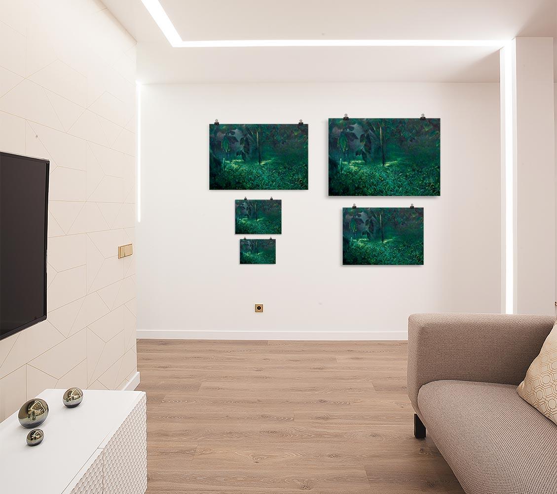 Reproducción de arte en lámina - salón - Clorofila Izquierda - Técnica Mixta - Paisaje - Naturalismo -pintado por Fernando Pagador