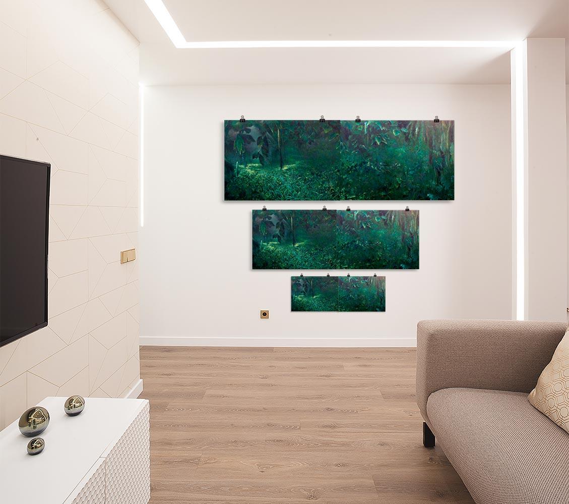 Reproducción de arte en lámina - salón - Clorofila Díptico - Técnica Mixta - Paisaje - Naturalismo -pintado por Fernando Pagador
