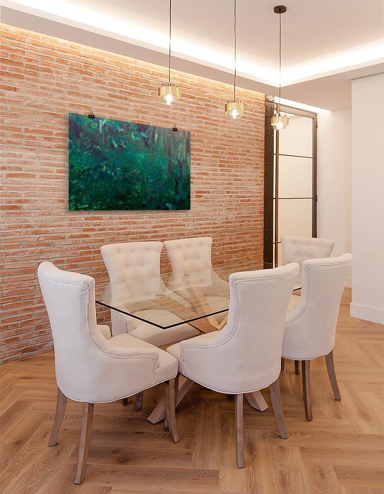 Reproducción de arte en lámina - comedor con pared de ladrillo - Clorofila Derecha - Técnica Mixta - Paisaje - Naturalismo -pintado por Fernando Pagador