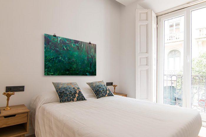 Reproducción de arte en lámina - dormitorio con balcón - Clorofila Derecha - Técnica Mixta - Paisaje - Naturalismo -pintado por Fernando Pagador