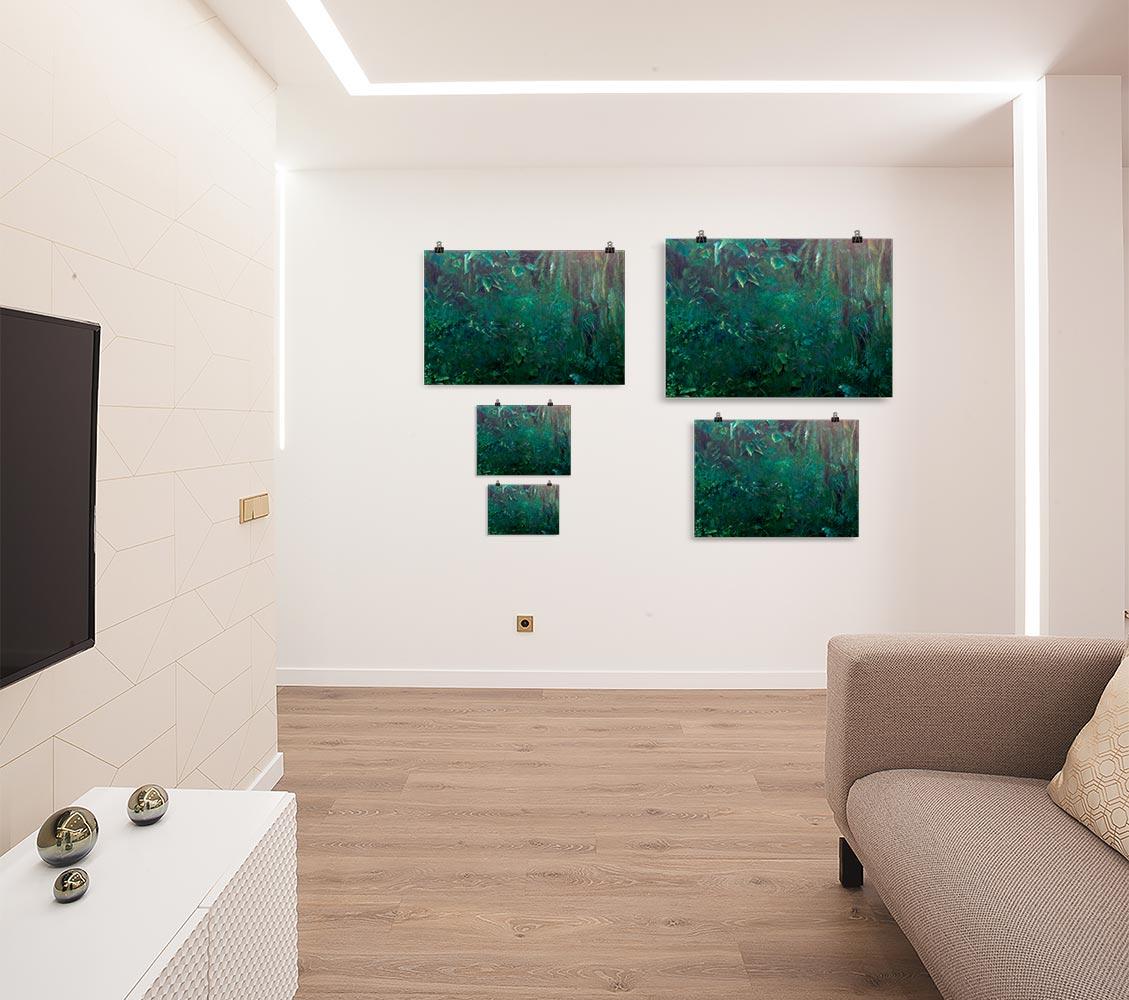 Reproducción de arte en lámina - salón - Clorofila Derecha - Técnica Mixta - Paisaje - Naturalismo -pintado por Fernando Pagador