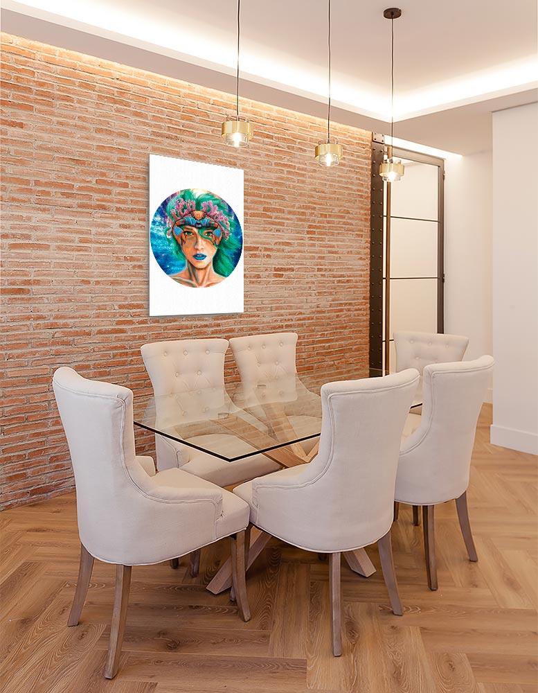 Reproducción de arte en lienzo - comedor con pared de ladrillo - La Fortaleza de Cancer - Diseño Digital - Zodiaco - Ilustración -pintado por Adrian Pagador