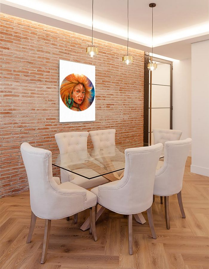 Reproducción de arte en lienzo - comedor con pared de ladrillo - El Poder de Leo - Diseño Digital - Zodiaco - Ilustración -pintado por Adrian Pagador