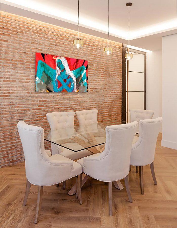 Reproducción de arte en lienzo - comedor con pared de ladrillo - Angel Awakening - Diseño Digital - Ilustración - Fotografía y Pintura -pintado por WachiMakeArt