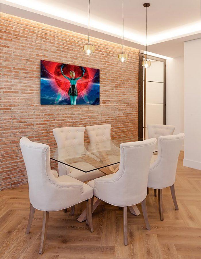 Reproducción de arte en lienzo - comedor con pared de ladrillo - Retro RedMoon - Diseño Digital - Ilustración - Fotografía y Pintura -pintado por WachiMakeArt