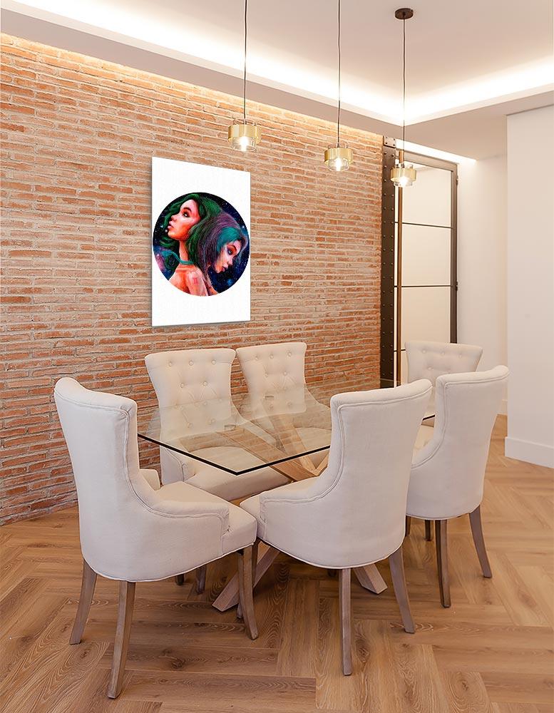 Reproducción de arte en lienzo - comedor con pared de ladrillo - Géminis - Diseño Digital - Zodiaco - Ilustración -pintado por Adrian Pagador