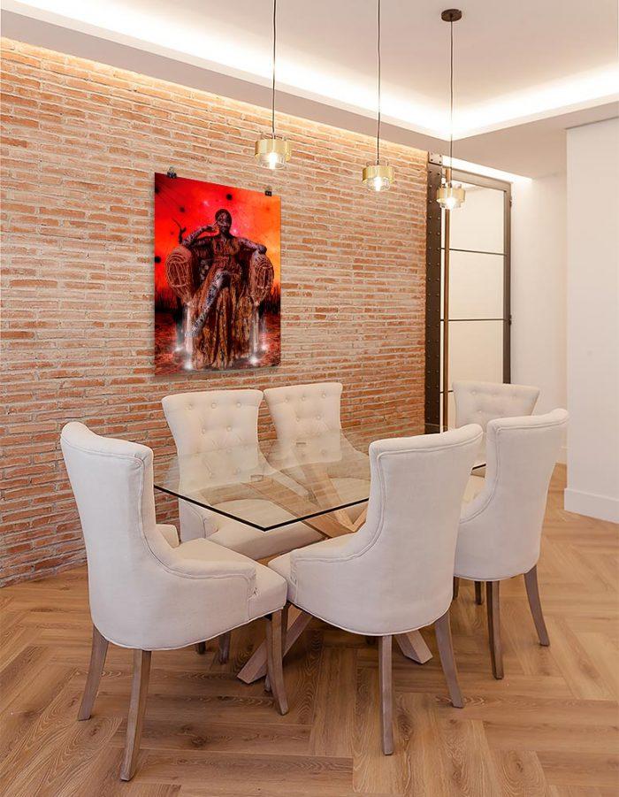 Reproducción de arte en lámina - comedor con pared de ladrillo - Desconexión - Diseño Digital - Ilustración - Fotografía y Pintura -pintado por WachiMakeArt