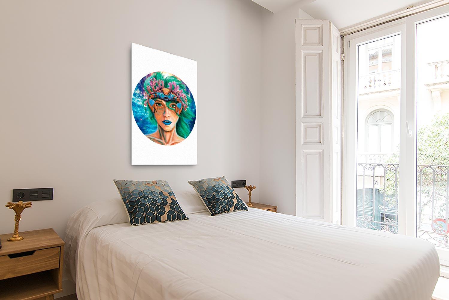 Reproducción de arte en lienzo - dormitorio con balcón - La Fortaleza de Cancer - Diseño Digital - Zodiaco - Ilustración -pintado por Adrian Pagador