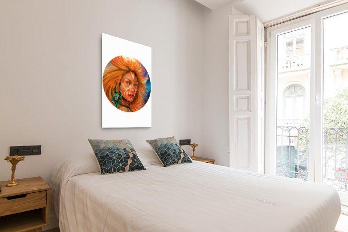 Reproducción de arte en lienzo - dormitorio con balcón - El Poder de Leo - Diseño Digital - Zodiaco - Ilustración -pintado por Adrian Pagador