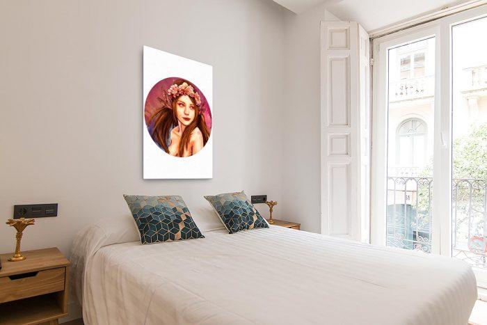Reproducción de arte en lienzo - dormitorio con balcón - La Pureza de Virgo - Diseño Digital - Zodiaco - Ilustración -pintado por Adrian Pagador
