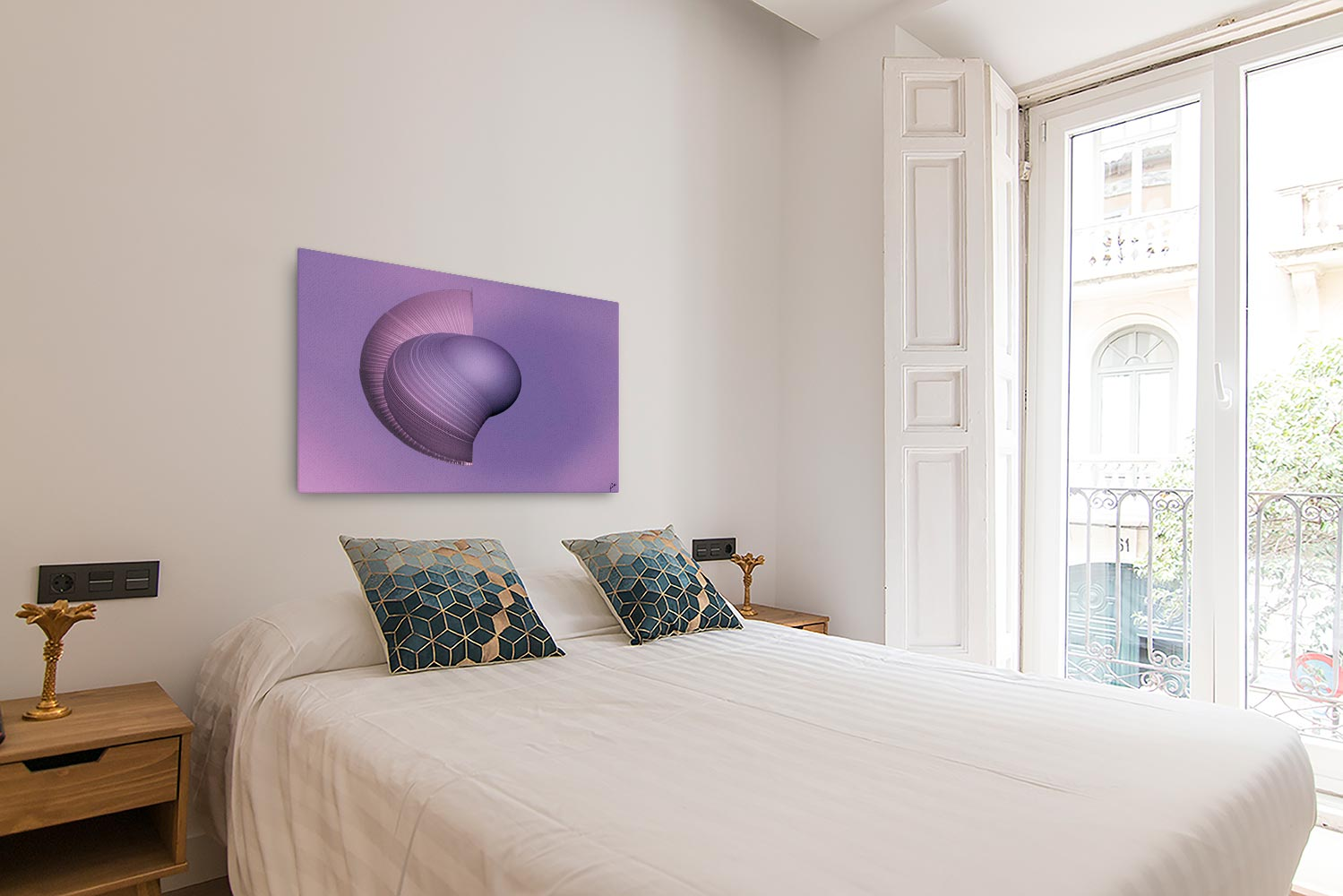 Reproducción de arte en lienzo - dormitorio con balcón - Guerrero Argarico - Diseño Digital - Abstracto - Fotografía y Pintura -pintado por Fuli