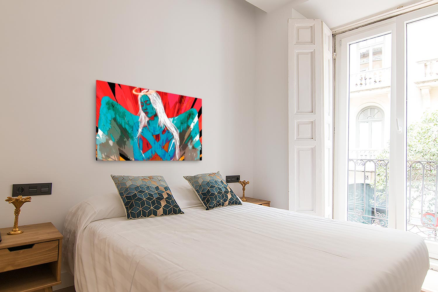 Reproducción de arte en lienzo - dormitorio con balcón - Angel Awakening - Diseño Digital - Ilustración - Fotografía y Pintura -pintado por WachiMakeArt