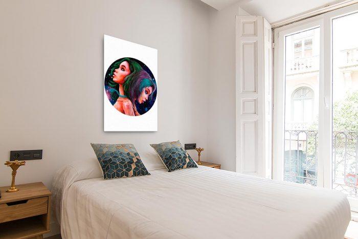 Reproducción de arte en lienzo - dormitorio con balcón - Géminis - Diseño Digital - Zodiaco - Ilustración -pintado por Adrian Pagador