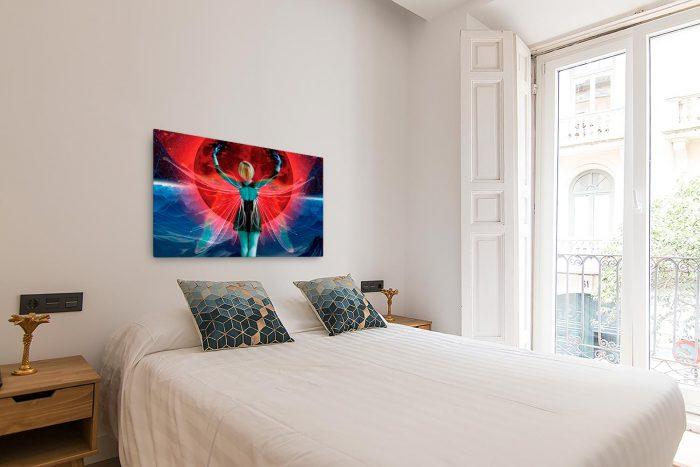 Reproducción de arte en lienzo - dormitorio con balcón - Retro RedMoon - Diseño Digital - Ilustración - Fotografía y Pintura -pintado por WachiMakeArt