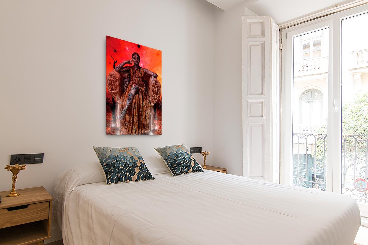 Reproducción de arte en lienzo - dormitorio con balcón - Desconexión - Diseño Digital - Ilustración - Fotografía y Pintura -pintado por WachiMakeArt