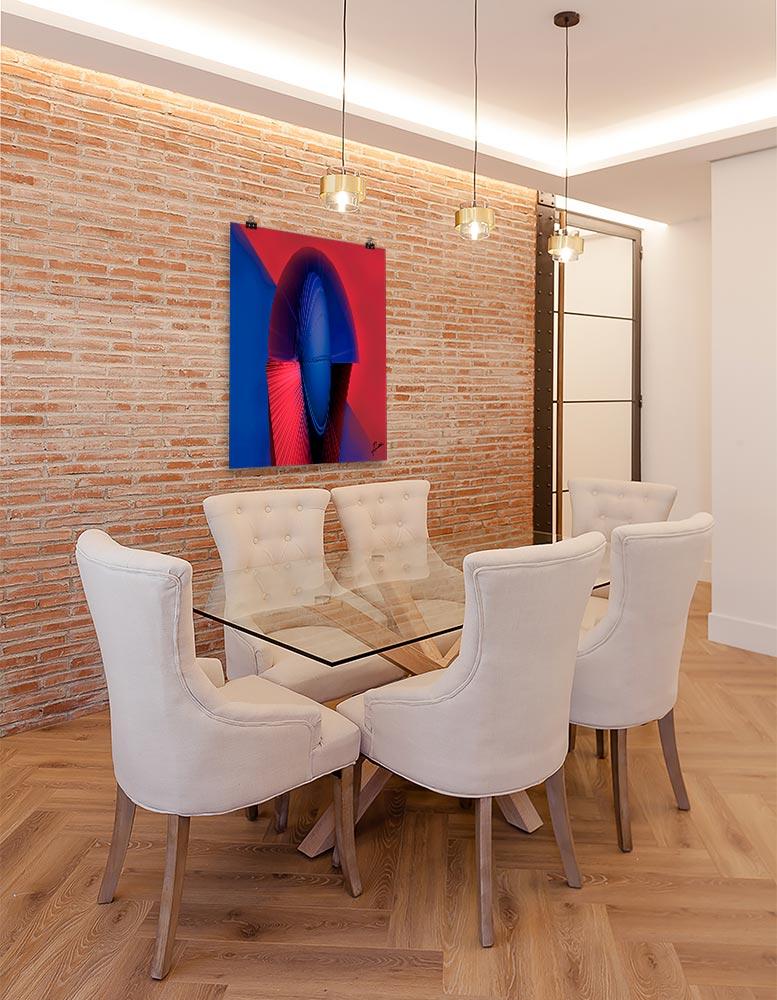 Reproducción de arte en lámina - comedor con pared de ladrillo - Esfinge - Diseño Digital - Abstracto - Modelado 3D -pintado por Fuli