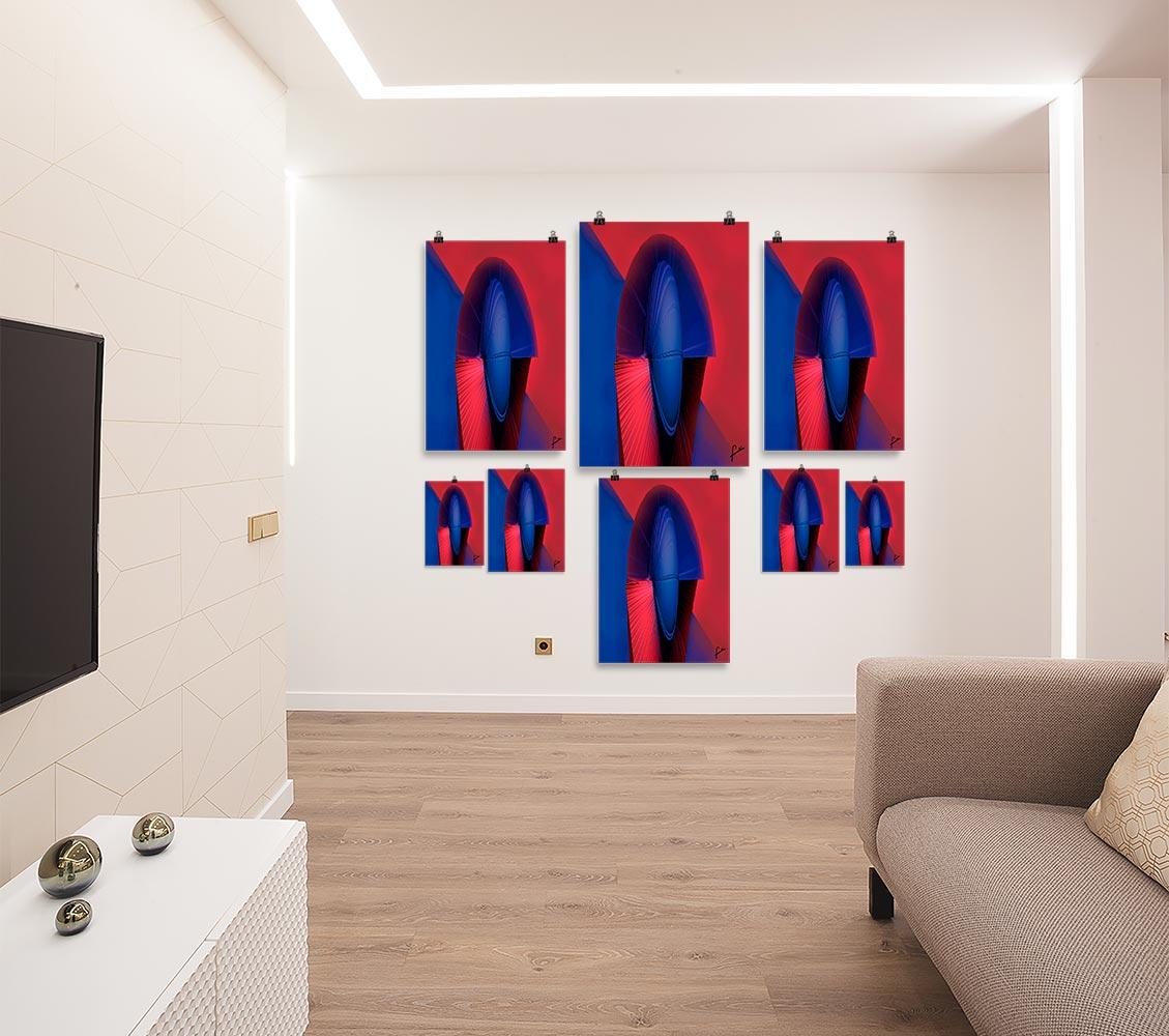 Reproducción de arte en lámina - salón - Esfinge - Diseño Digital - Abstracto - Modelado 3D -pintado por Fuli
