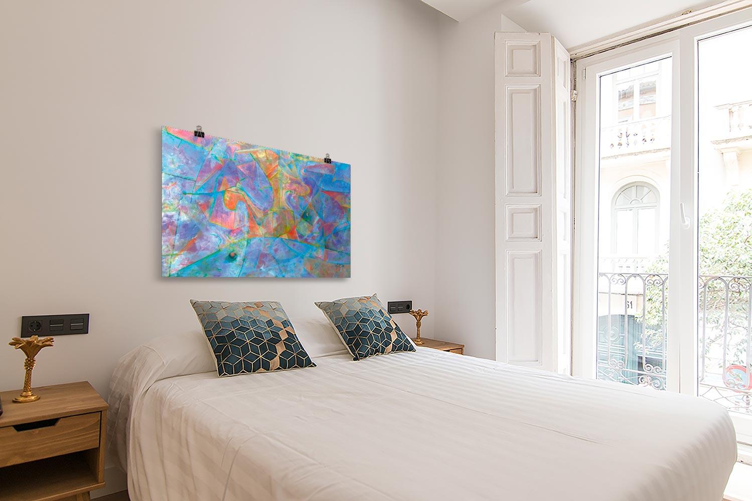 Reproducción de arte en lámina - dormitorio con balcón - Espacio de Comunicación - Encáustico - Geometria y Abstracción - Matérica -pintado por Fernando Pagador