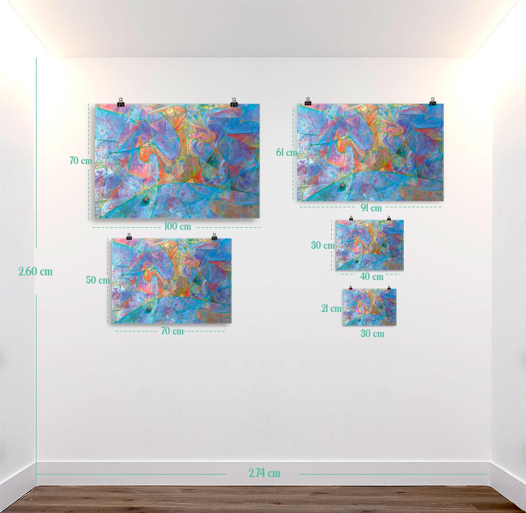 Reproducción de arte en lámina - medidas - Espacio de Comunicación - Encáustico - Geometria y Abstracción - Matérica -pintado por Fernando Pagador