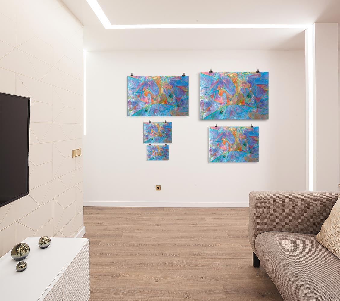 Reproducción de arte en lámina - salón - Espacio de Comunicación - Encáustico - Geometria y Abstracción - Matérica -pintado por Fernando Pagador