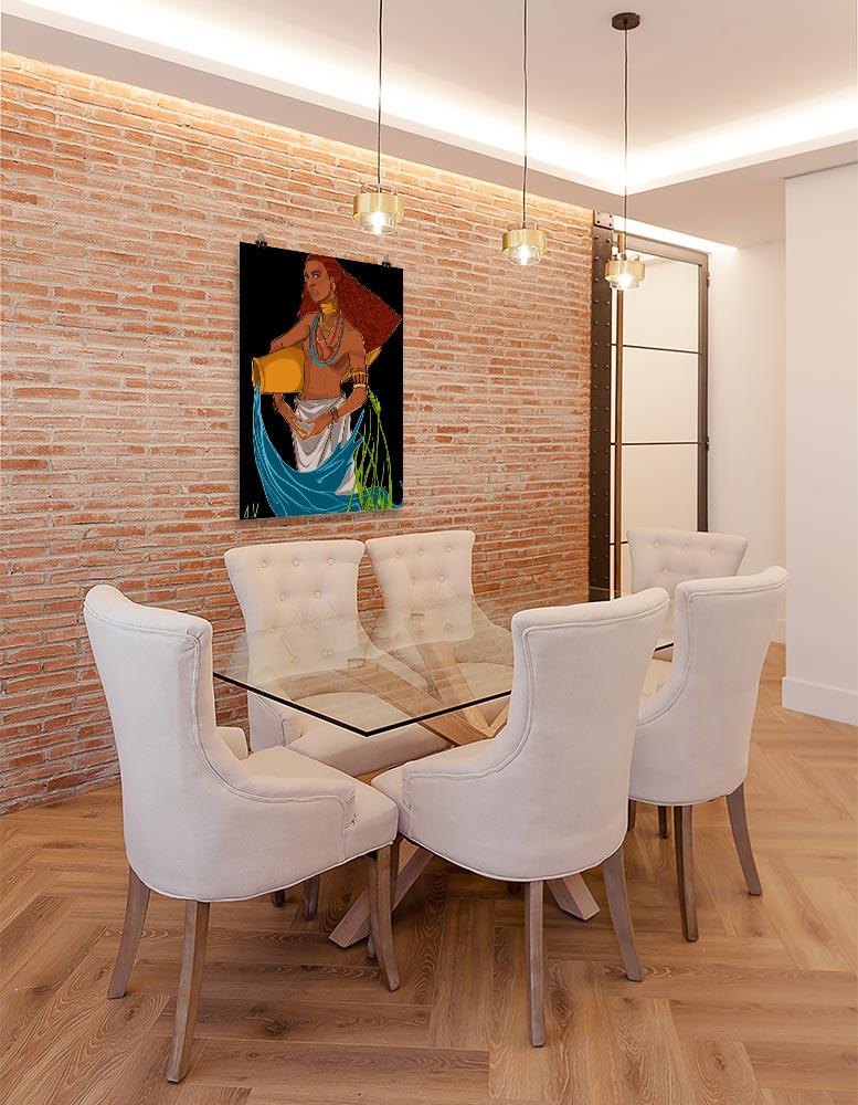Reproducción de arte en lámina - comedor con pared de ladrillo - El Espiritu de Acuario - Diseño Digital - Zodiaco - Ilustración -pintado por Aida Valdayo