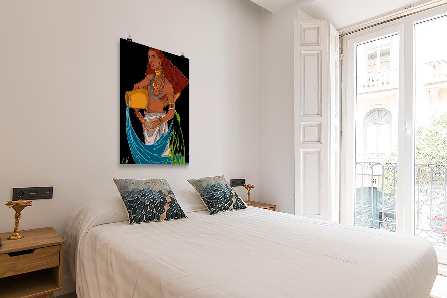 Reproducción de arte en lámina - dormitorio con balcón - El Espiritu de Acuario - Diseño Digital - Zodiaco - Ilustración -pintado por Aida Valdayo