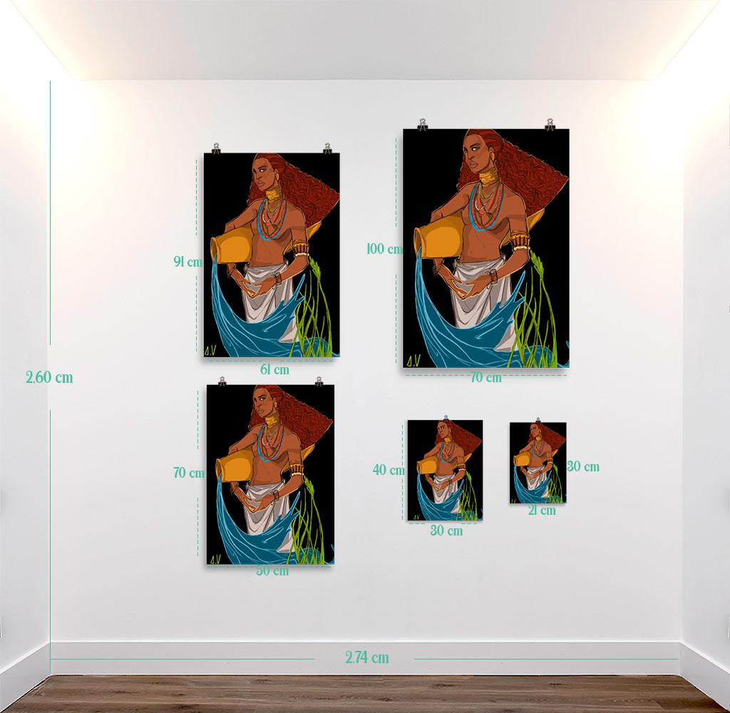 Reproducción de arte en lámina - medidas - El Espiritu de Acuario - Diseño Digital - Zodiaco - Ilustración -pintado por Aida Valdayo