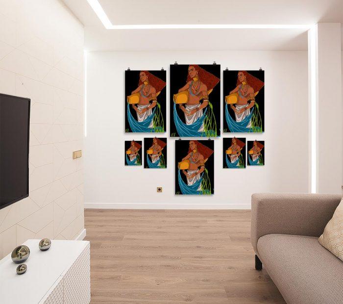 Reproducción de arte en lámina - salón - El Espiritu de Acuario - Diseño Digital - Zodiaco - Ilustración -pintado por Aida Valdayo