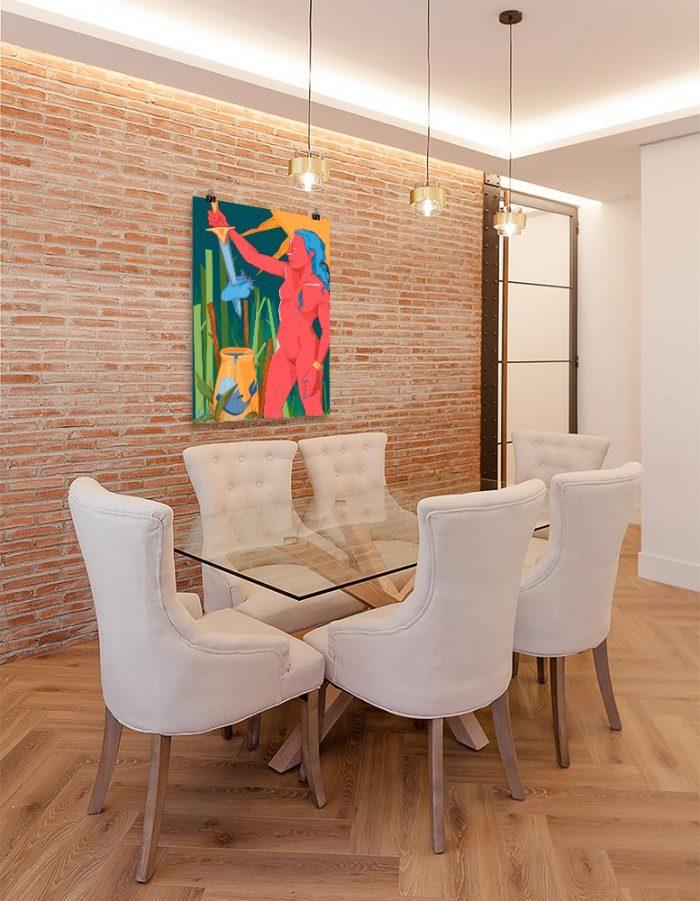 Reproducción de arte en lámina - comedor con pared de ladrillo - La Fuerza de Acuario - Diseño Digital - Zodiaco - Ilustración -pintado por Aida Valdayo