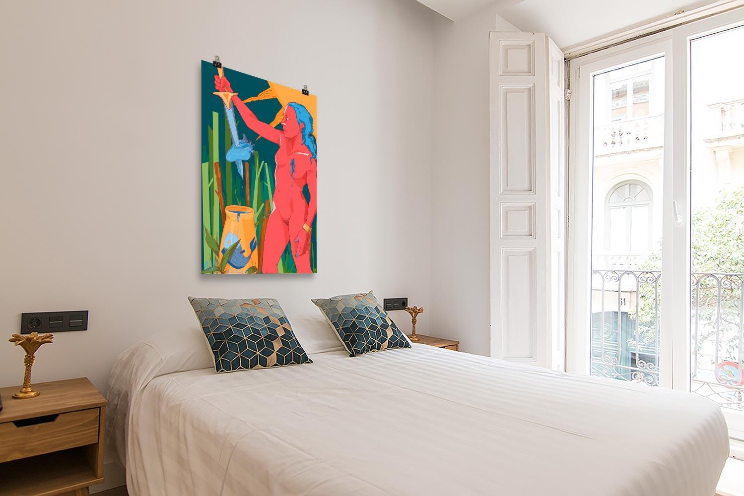 Reproducción de arte en lámina - dormitorio con balcón - La Fuerza de Acuario - Diseño Digital - Zodiaco - Ilustración -pintado por Aida Valdayo
