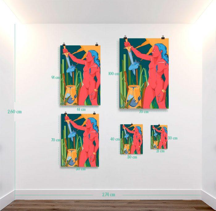 Reproducción de arte en lámina - medidas - La Fuerza de Acuario - Diseño Digital - Zodiaco - Ilustración -pintado por Aida Valdayo