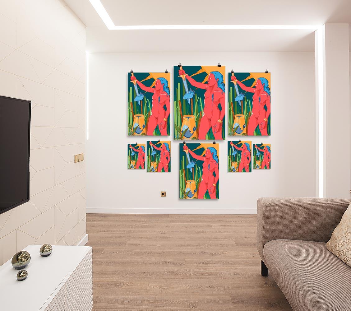 Reproducción de arte en lámina - salón - La Fuerza de Acuario - Diseño Digital - Zodiaco - Ilustración -pintado por Aida Valdayo