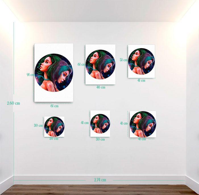 Reproducción de arte en lienzo - medidas - La Dualidad de Géminis - Diseño Digital - Zodiaco - Ilustración -pintado por Adrian Pagador