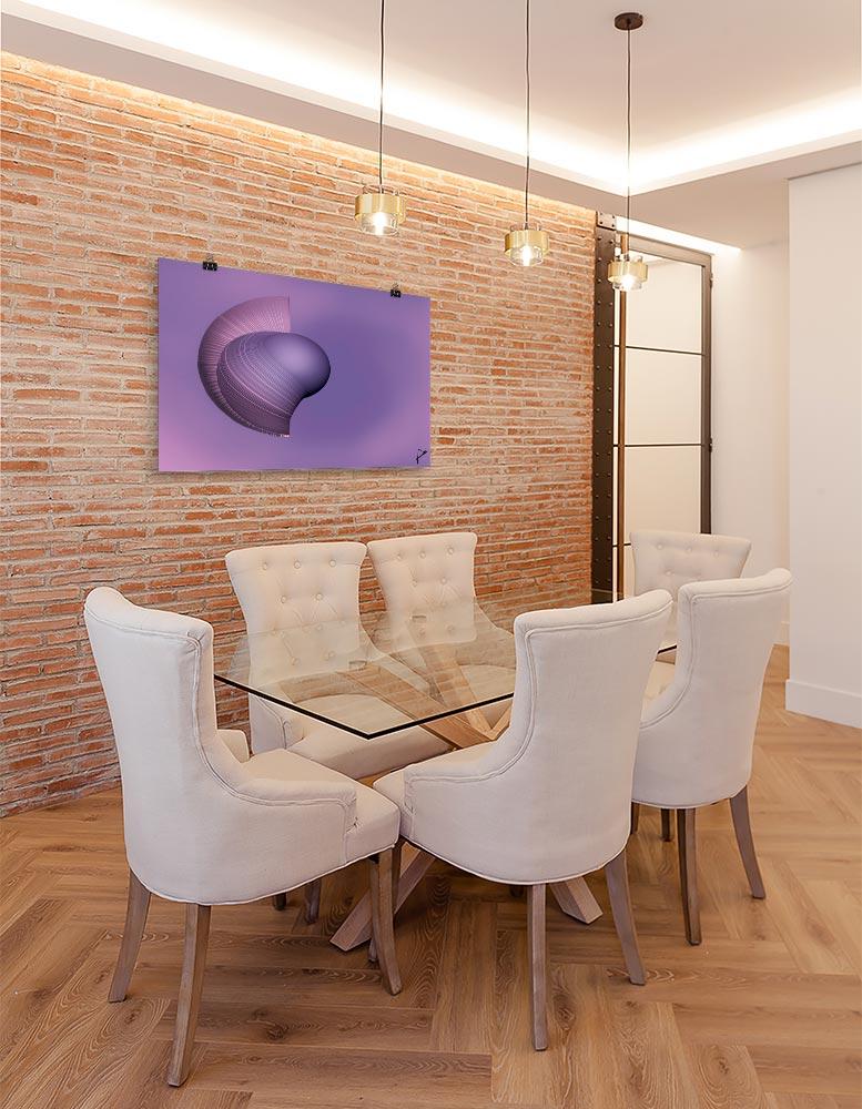 Reproducción de arte en lámina - comedor con pared de ladrillo - Guerrero Argarico - Diseño Digital - Abstracto - Fotografía y Pintura -pintado por Fuli