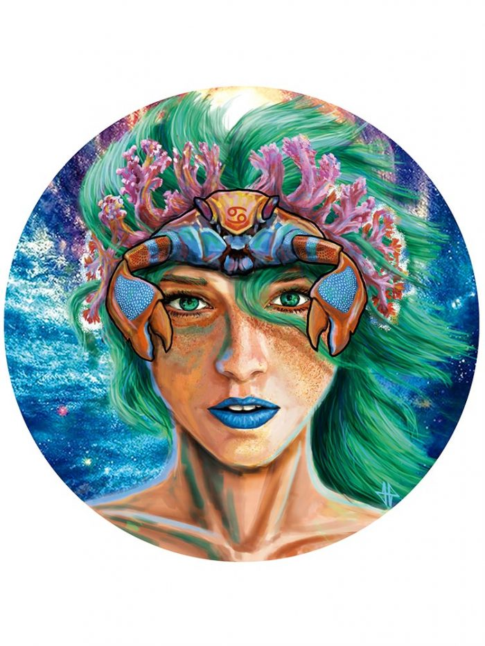 Reproducción de arte - imagen destacada - La Fortaleza de Cancer - Diseño Digital - Zodiaco - Ilustración -pintado por Adrian Pagador