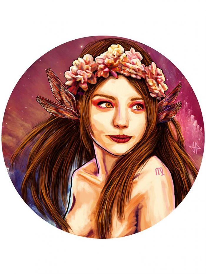 Reproducción de arte - imagen destacada - La Pureza de Virgo - Diseño Digital - Zodiaco - Ilustración -pintado por Adrian Pagador