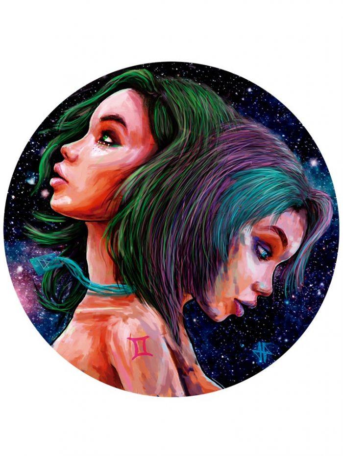 Reproducción de arte - imagen destacada - Géminis - Diseño Digital - Zodiaco - Ilustración -pintado por Adrian Pagador