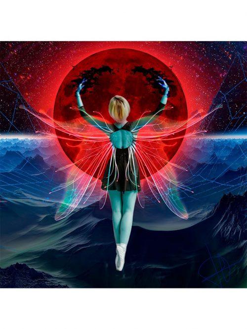 Reproducción de arte - imagen destacada - Retro RedMoon - Diseño Digital - Ilustración - Fotografía y Pintura -pintado por WachiMakeArt