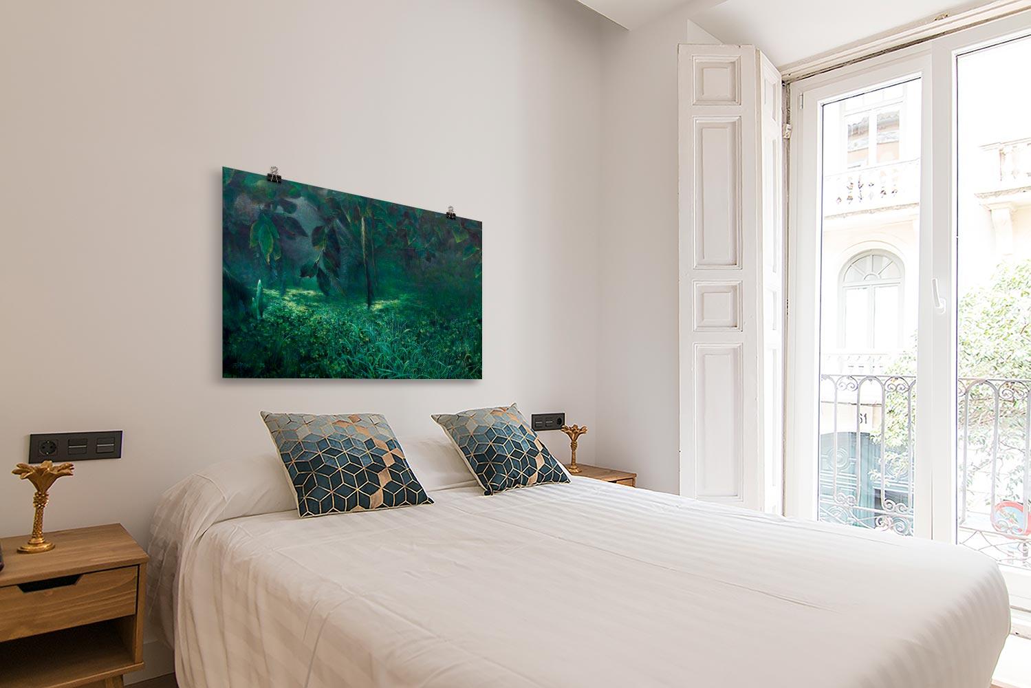Reproducción de arte en lámina - dormitorio con balcón - Clorofila izquierda - Técnica Mixta - Paisaje - Naturalismo -pintado por Fernando Pagador