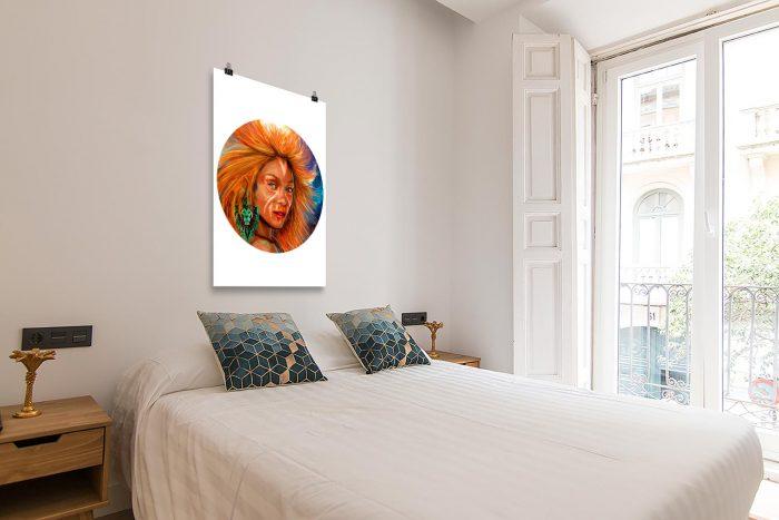 Reproducción de arte en lámina - dormitorio con balcón - El Poder de Leo - Diseño Digital - Zodiaco - Ilustración -pintado por Adrian Pagador