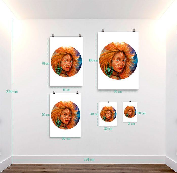 Reproducción de arte en lámina - medidas - El Poder de Leo - Diseño Digital - Zodiaco - Ilustración -pintado por Adrian Pagador